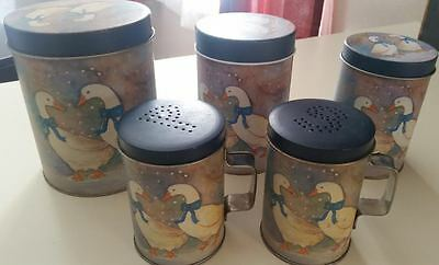 Country Farmhouse Kitchen Decor 3 Nesting Canisters Tin Set Duck Salt N Pepper