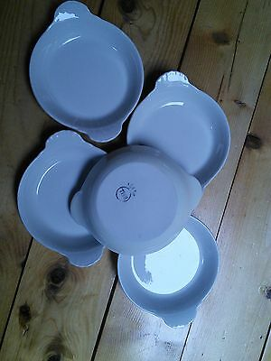 Set of (5) Hall Individual Au Gratin Quiche Casseole Dishes #433 White & Ivory