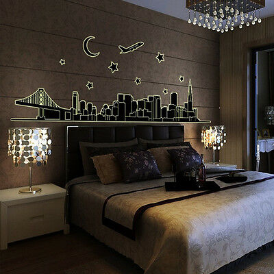 DIY Fluorescent City Glow In The Dark Wall Sticker Living Room Wall Decals Vinyl