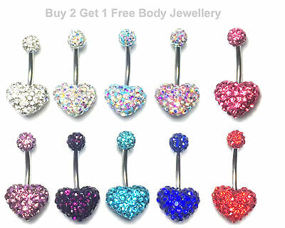 Belly Bar Heart Shamballa Multi Crystal Navel Button Bars Ring Surgical Steel UK