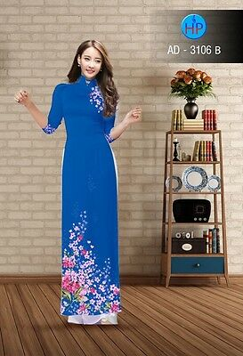 Ao dai vietnamese  traditional  long dress printed  flowers with pant