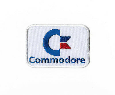 "COMMODORE Logo Patch Retro 3"" Embroidered Badge Video Game Applique Geekery Rare"