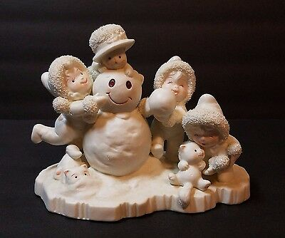 Xmas Snowman Tykes on Ice Porcelain Bisque Figurine Winter Holiday Decoration