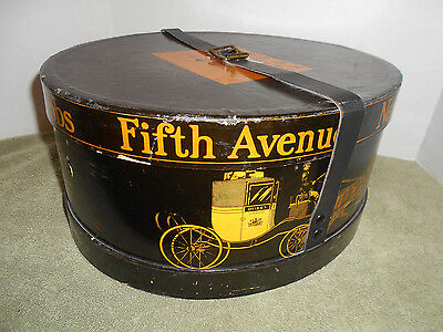 Antique Vtg Oval Dobbs Fifth Ave New York Hat Box With Leather Strap Black