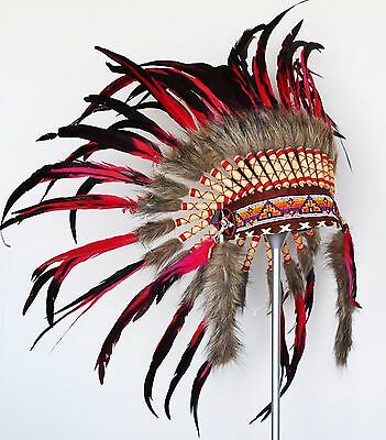 Indian Red et Black Feather Coiffe / Warbonnet