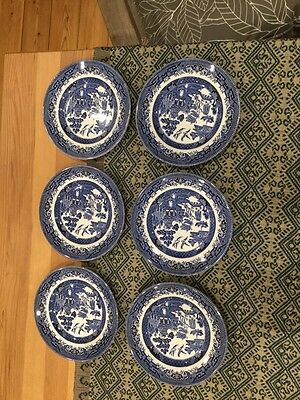 Churchill Willow Pattern Blue and White set of 6 tea plates.
