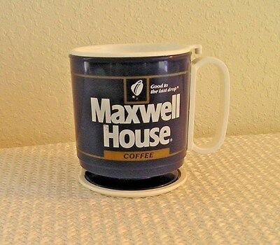 Vintage Maxwell House Coffee Plastic Mug/Cup with Lid & Base  New(?)
