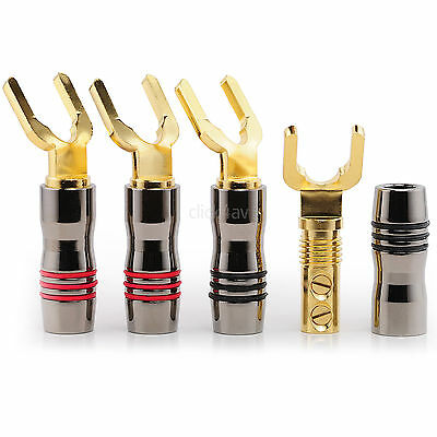 8 Premium Speaker Spade Fork Connectors Gold Plated Angled Terminals SPATER06
