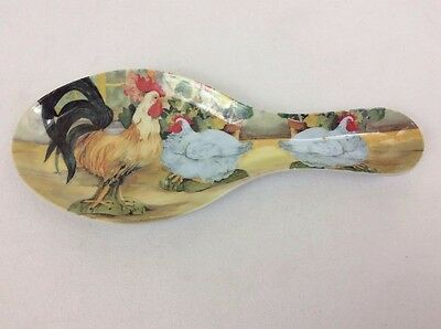 Large Melamine Rooster & White Chicken Spoon Rest