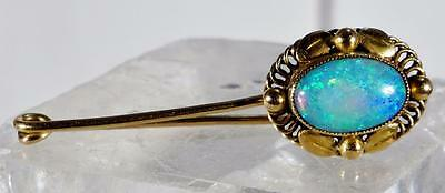 Antique VIVID Blue Opal Pin Brooch in  18 K Gold