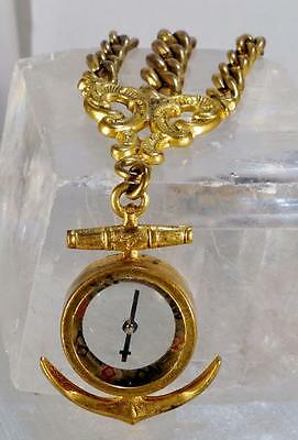 14 K Gold Plated Chatelaine Compass