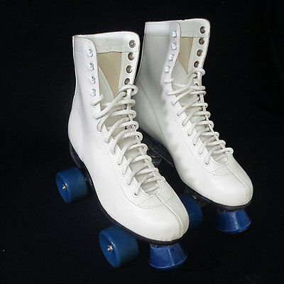 Tall White Leather Vintage Style Roller Rink Skates Mens Size 9 Retro New Stock