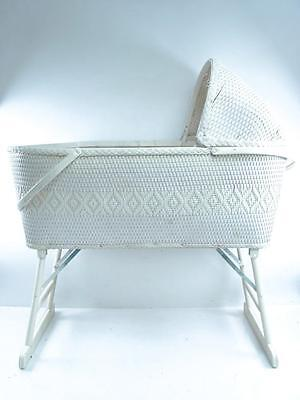 Vintage Red Man White Wicker Baby Bassinet Foldable w/ Mattress, Crib Mobile