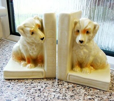 Lovely Vintage Ceramic Dog Bookends