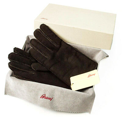 Men's BRIONI Italy Brown Leather Shearling Lined Winter Gloves S M 8.5 $695 NWT!