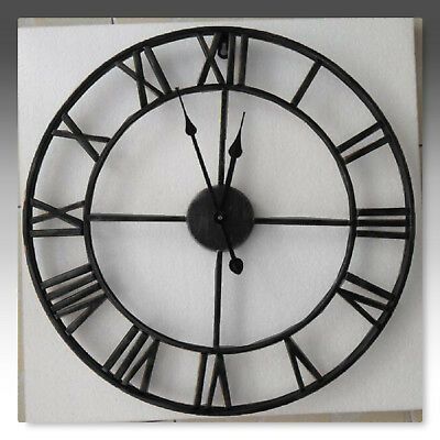 Large Outdoor Garden 40Cm Metal Wall Clock Big Roman Numerals Giant Open Face