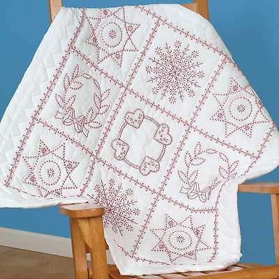 Stamped White Wall Or Lap Quilt 36 Inch X 36 Inch-Sampler 013155700046