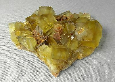 Yellow Fluorite crystals on matrix. Natural mineral 56 gms (1.98 oz) Fluorescent