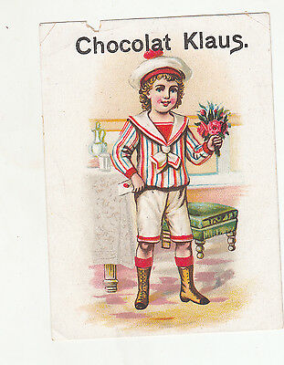 RARE Awesome Vintage Chocolate Klaus Claus/Victorian Trade Card/Boy France LOOK