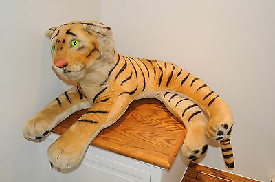 VINTAGE LARGE STEIFF TIGER Over 2 ft Long! Mohair Green Glass Eyes W/ Ear Button