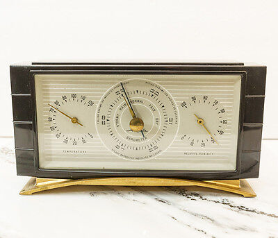 Vintage Airguide Art Deco Thermometer Barometer Humidity Desktop Weather Station