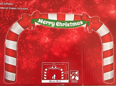 New 23 Ft X 15 Merry Christmas Lighted Giant Sized Candy Cane Archway Inflatable