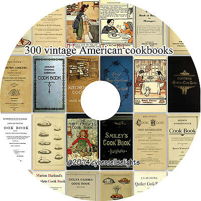 300 vintage American cookbooks on one DVD, cooking, baking and recipes