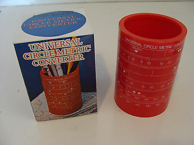 Vintage Universal Circle Metric Converter Red Pencil Cup Holder Nos In Box