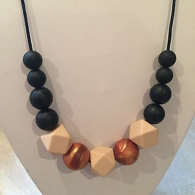 Silicone Sensory Baby (was teething) Necklace for Mum Jewellery Beads Aus Copper