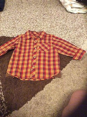 Boys red checked shirt age 12-18 months