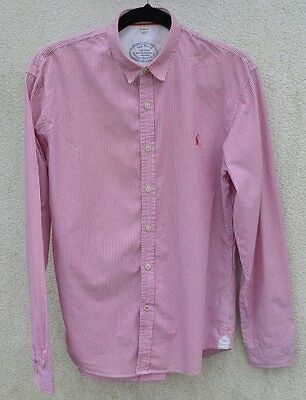 Joules * Pink & White Stripe Mens Long Sleeve Shirt * Small *