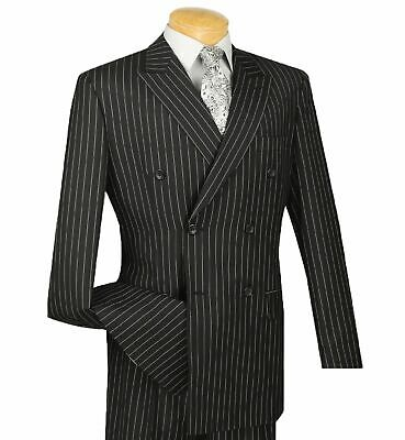 Men's Black Pinstripe Double Breasted 6 Button Classic Fit Suit NEW