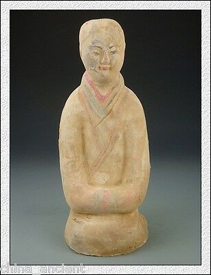 Ancient Chinese Western Han Dynasty Terracotta Colour Pottery Genuflect Servant