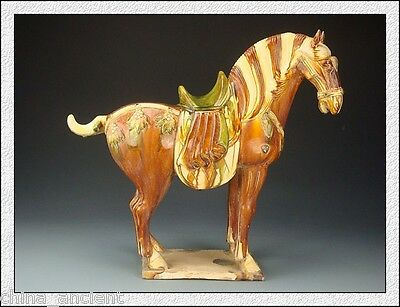 Ancient Chinese Wonderful Collectable Tang SanCai Red Glaze Horse Statue