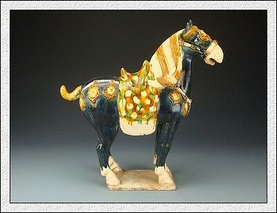 Ancient Chinese Rare Collectable Tang SanCai Blove Glaze Horse Statue