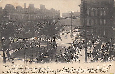 Central Square Youngstown Ohio Vintage 1907 Undivided Back Postcard Mahoning Cty