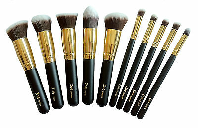 Zoe Foundation Powder Flat Round Angled Tapered Makeup Kabuki Brushes Brush Set