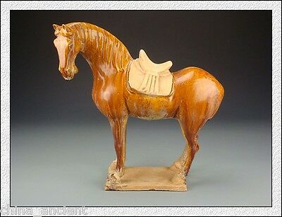 Ancient Chinese Collectable Dignity Old SanCai Pottery Horse Statue