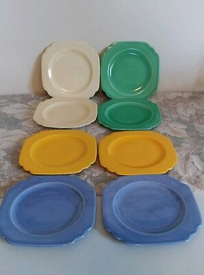 Luray Pastel Octagon Bread & Butter Plates / Lot of 6