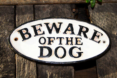 "Nostalgisches Schild  ""Beware of the Dog"" aus Gusseisen"