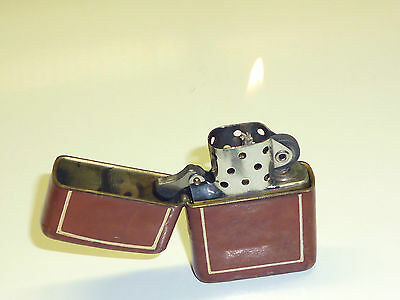 Vintage Wwii Zippo Lighter - Full Brown Leather Wrapped -Pat. 2032695 -1937-1950