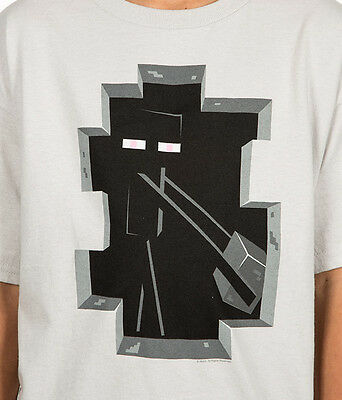 Minecraft Enderman Inside Youth Tee size S (6-8) Tee silver + FREE PLUSH!