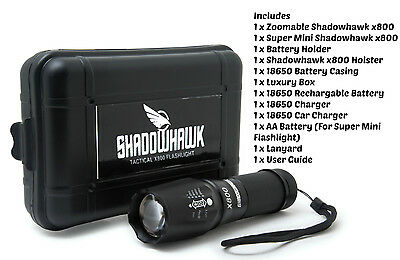 2 X GENUINE Shadowhawk X800 LED Tactical Flashlight |18650 Battery + Accesories