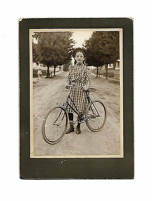 Young Girl with Early Bicycle, Cabinet Card Full Length Portrait Matted Id'd