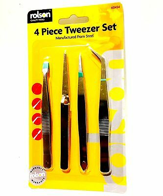 4 Tweezer Set - Crafts Arts Tools New Precise Repair Kit Hand Cheap Jewellery