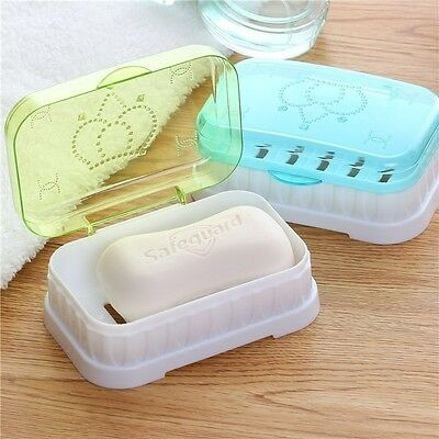 Bathroom Shower Candy Color Soap Box Dish Plate Holder Travel Case Container