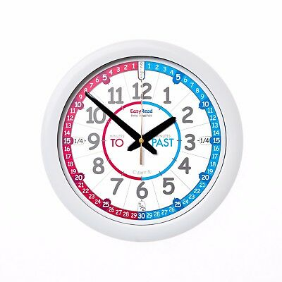 NEW!! Kids 29cm Easy Read Time Teacher Clock Learn to Tell Time red/blue face