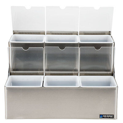 San Jamar Ez-Chill S/s 2-Tier Step Condiment Center W/ 2 Ice Liners - B6706Inl
