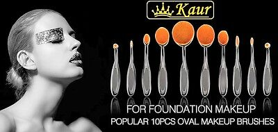 Kaur Professional 10 pc Soft Puff Oval Toothbrush Makeup Brush Set in a box