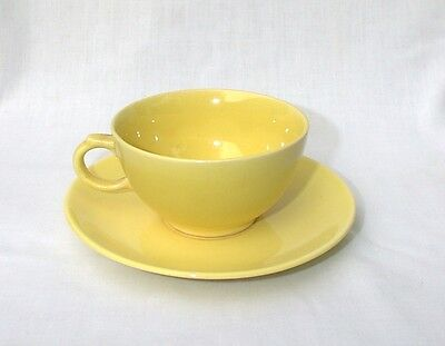 Paden City Caliente Lemon Yellow Cup and Saucer